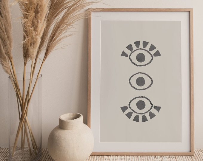 Eye Line Drawing, Boho Abstract Eyes Printable Wall Art Digital Print, Neutral Tone Mid Century Instant Download