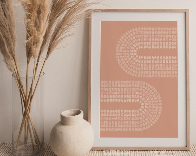 Abstract Double Rainbow Printable Wall Art Digital Print, Neutral Pink Mid Century Arches Art Print, Terracotta Print Instant Download