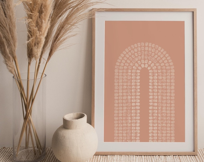 Terracotta Mid Century Arch Wall Art Print, Abstract Rainbow Printable Wall Art Digital Print, Burnt Orange Print Instant Download