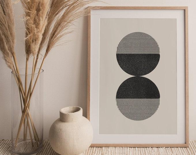 Abstract Circles Art Print, Mid Century Circles Printable Wall Art Digital Print, Minimalist Neutral Wall Art Print Instant Download