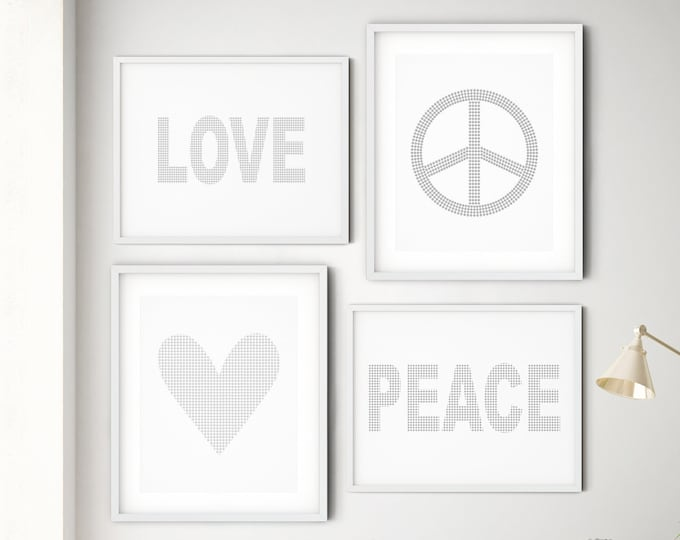 Love and Peace Christmas Wall Art Set, Peace Symbol Art Print, Love Wall Art Print, Print Set of 4