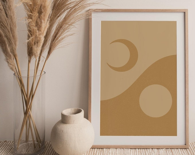 Abstract Sun Moon Printable Poster, Mid Century Modern Sun and Moon Printable Wall Art Digital Print, Boho Wall Art Print Instant Download,