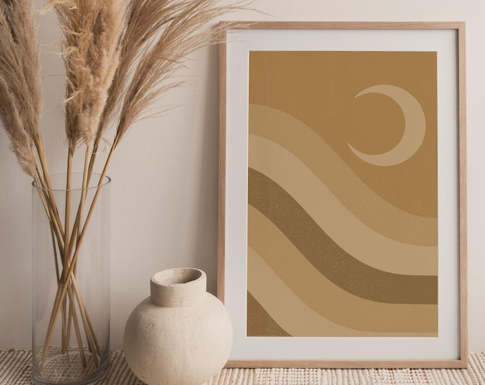 Mid Century Modern Moon Wall Art Print Instant Download, Boho Moon Printable Wall Art Digital Print, Abstract Landscape Printable Poster