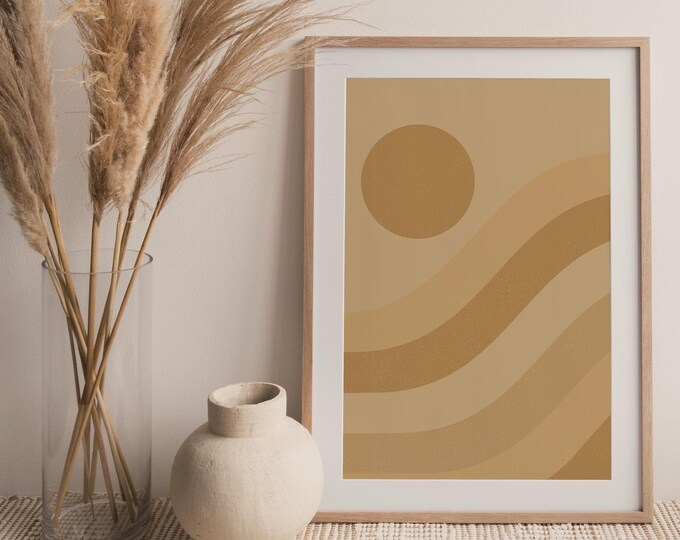 Mid Century Modern Sun Wall Art Print Instant Download, Boho Sun Printable Wall Art Digital Print, Abstract Landscape Printable Poster