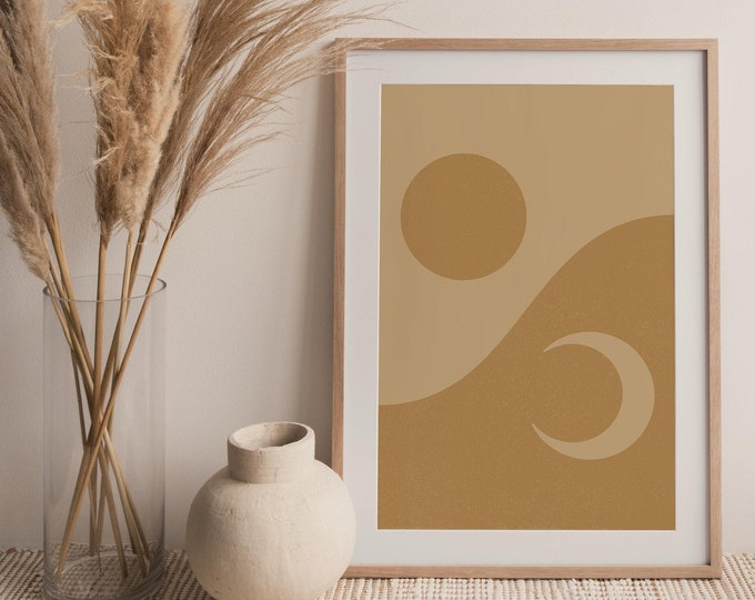 Abstract Sun Moon Printable Poster, Boho Sun and Moon Printable Wall Art Digital Print, Mid Century Modern Wall Art Print Instant Download