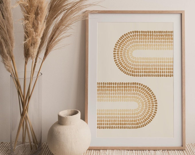 Abstract Double Rainbow Printable Wall Art Digital Print, Neutral Tone Mid Century Arches Art Print, Burnt Orange Print Instant Download
