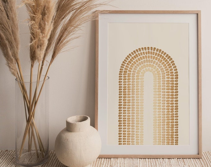 Neutral Tone Mid Century Arches Wall Art Print, Abstract Rainbow Printable Wall Art Digital Print, Burnt Orange Print Instant Download
