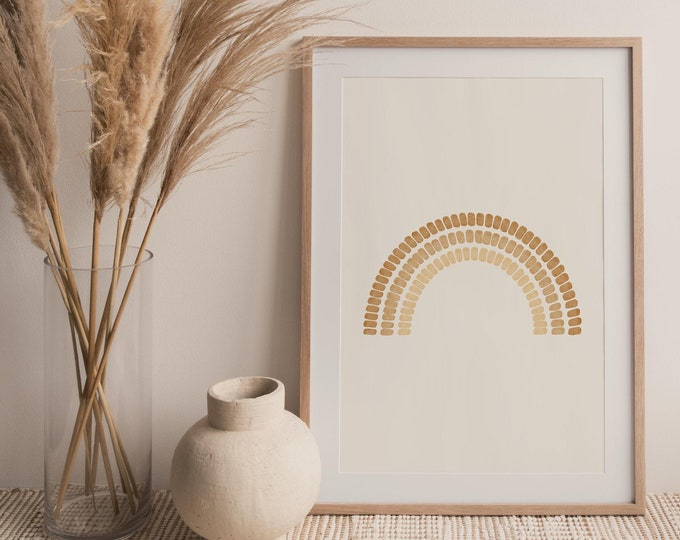 Mid Century Arches Wall Art Print, Abstract Neutral Tone Rainbow Printable Wall Art Digital Print, Burnt Orange Print Instant Download