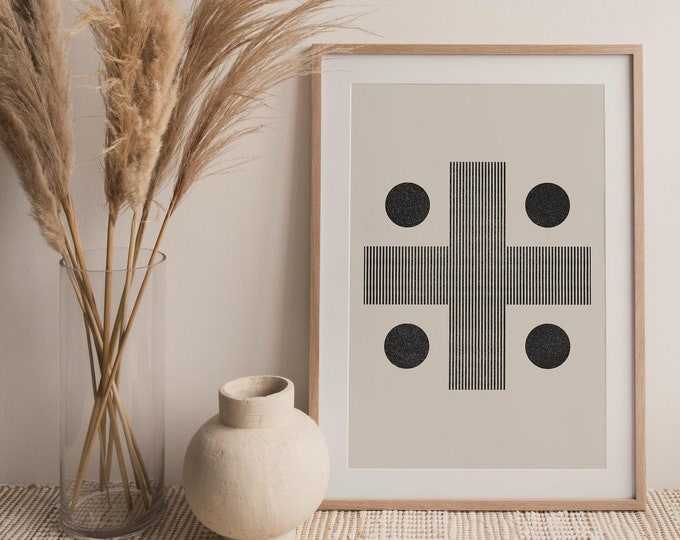 Abstract Cross Wall Art Printable, Mid Century Modern Neutral Tone Wall Art Print, Art Instant Download Printable Poster