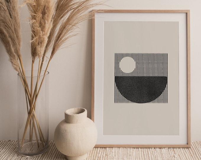 Abstract Woodblock Style Circles Printable Wall Art Print, Mid Century Circles Digital Print, Minimalist Wall Art Print Instant Download