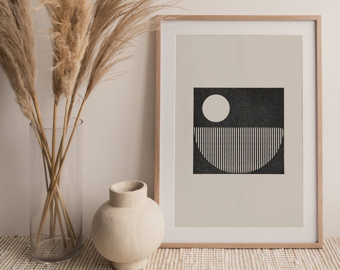 Minimalist Woodblock Style Circles Printable Wall Art Print, Abstract Circles Digital Print, Mid Century Wall Art Print Instant Download