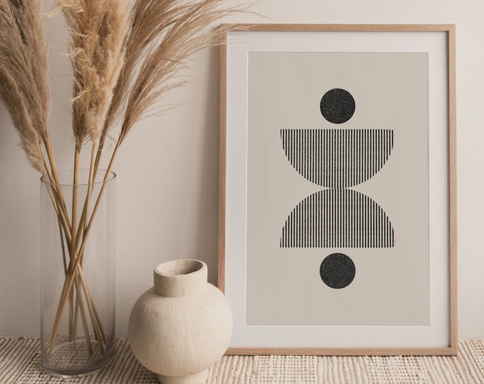 Woodblock Style Circles Print, Mid Century Modern Half Circles Printable Wall Art Digital Print, Minimalist Wall Art Print Instant Download