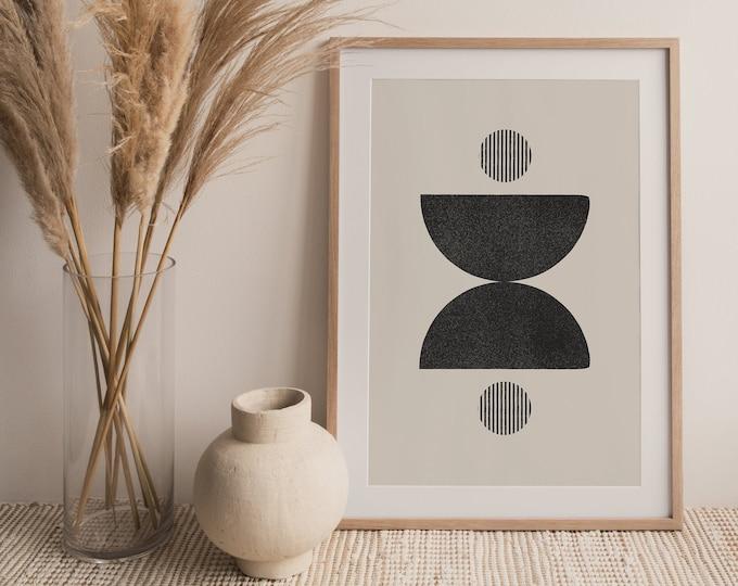 Abstract Neutral Half Circles Printable Wall Art Digital Print, Mid Century Modern Circles Print, Minimalist Wall Art Print Instant Download