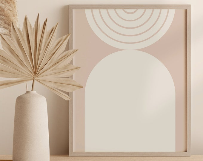 Abstract Mid Century Rainbow Digital Print, Neutral Tone Geometric Arch Wall Art, Minimalist Instant Download Poster