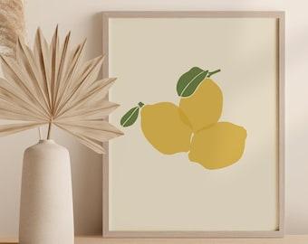 Lemons Printable Art Digital Print, Kitchen Wall Decor, Abstract Fruit Instant Download