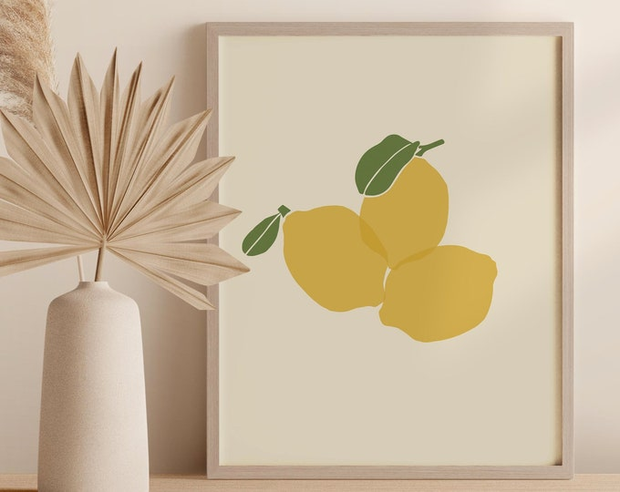 Lemons Kitchen Wall Decor, Printable Art Digital Print, Abstract Fruit Instant Download