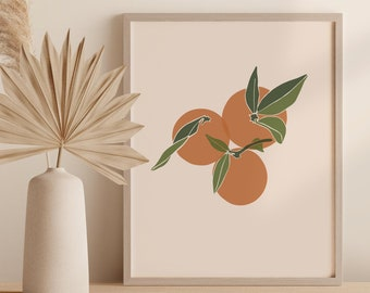 Oranges Printable Art Digital Print, Kitchen Wall Decor, Abstract Fruit Instant Download