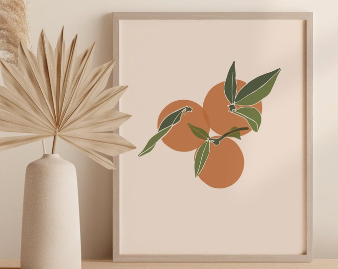 Oranges Kitchen Wall Decor, Printable Art Digital Print, Abstract Fruit Instant Download
