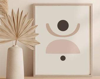 Mid Century Modern Circles Wall Art, Abstract Neutral Tone Digital Print, Shapes Printable Art Digital Download