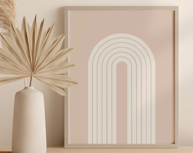 Neutral Tone Arch Print Mid Century Rainbow Printable Wall Art Abstract Shapes Instant Download Poster