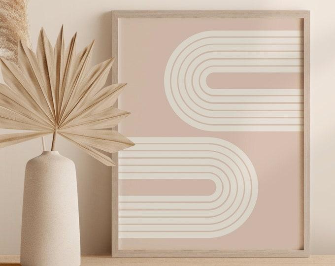 Abstract Arch Printable, Mid Century Modern Rainbow Print, Geometric Wall Art Printable Poster