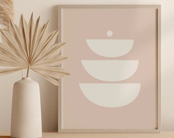 Abstract Neutral Tone Printable Wall Art, Abstract Circles Digital Print, Mid Century Shapes Instant Download Poster