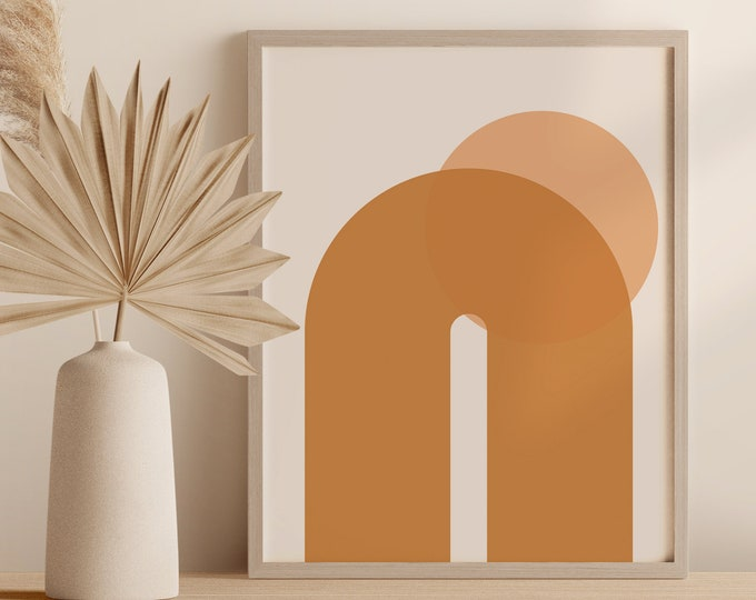 Abstract Arches Print, Neutral Tone Rainbow Arch Printable Digital Wall Art, Burnt Orange Instant Download