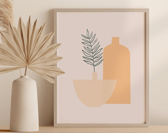Abstract Tropical Plant Wall Art, Palm Leaf Vase Print, Boho Minimalist Pottery Printable Instant Download