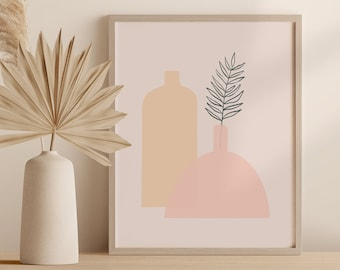 Abstract Boho Tropical Plant Print, Minimalist Vase Wall Art, Palm Leaf Pottery Printable Instant Download