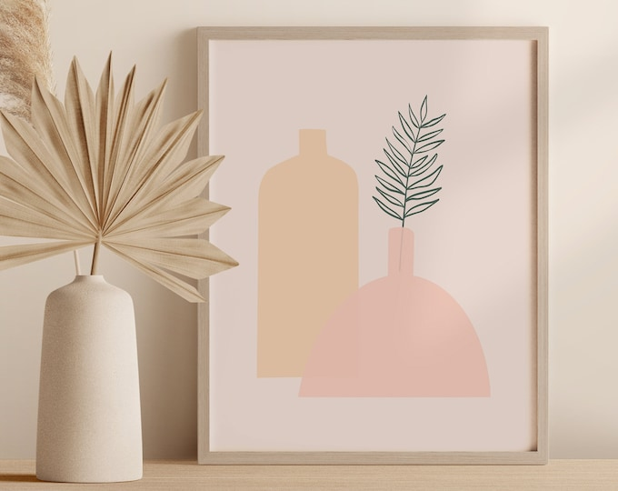 Minimalist Vase Wall Art, Abstract Boho Tropical Plant Print, Palm Leaf Pottery Printable Instant Download