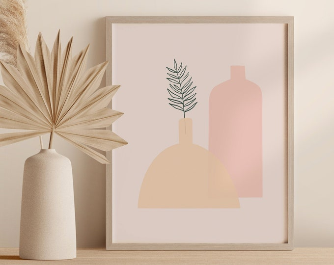 Minimalist Tropical Plant Wall Art, Abstract Boho Vase Print, Palm Leaf Pottery Printable Instant Download