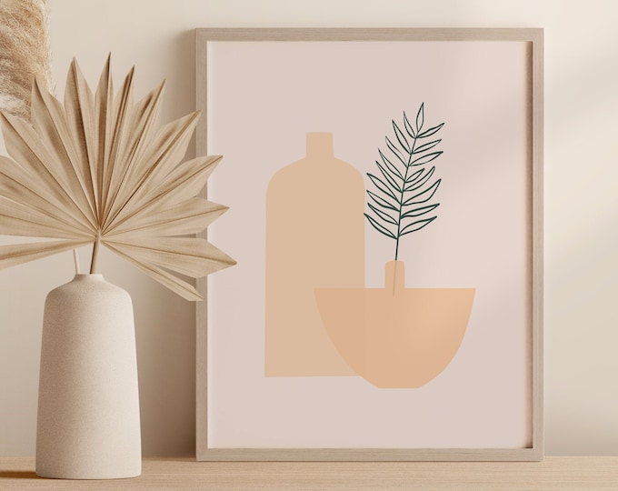 Boho Minimalist Tropical Plant Wall Art, Abstract Vase Print, Palm Leaf Pottery Printable Instant Download