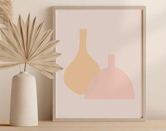 Abstract Boho Vase Print, Minimalist Pottery Wall Art, Contemporary Ceramics Printable Instant Download