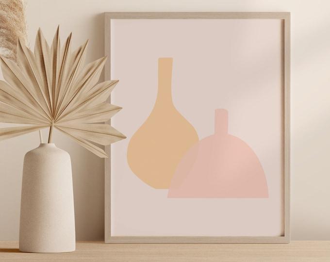 Minimalist Pottery Wall Art, Abstract Boho Vase Print, Contemporary Ceramics Printable Instant Download
