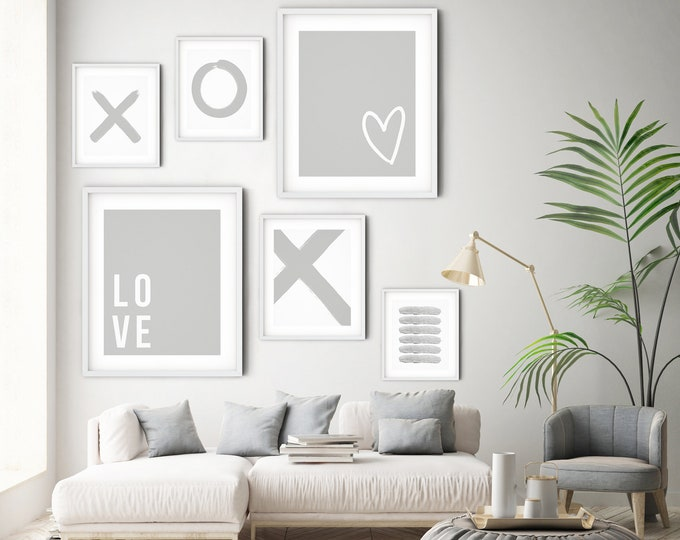 Grey and White Printable Art Set, Art Print Set of 6 Gallery Wall Prints, Set of 6 Wall Art Prints