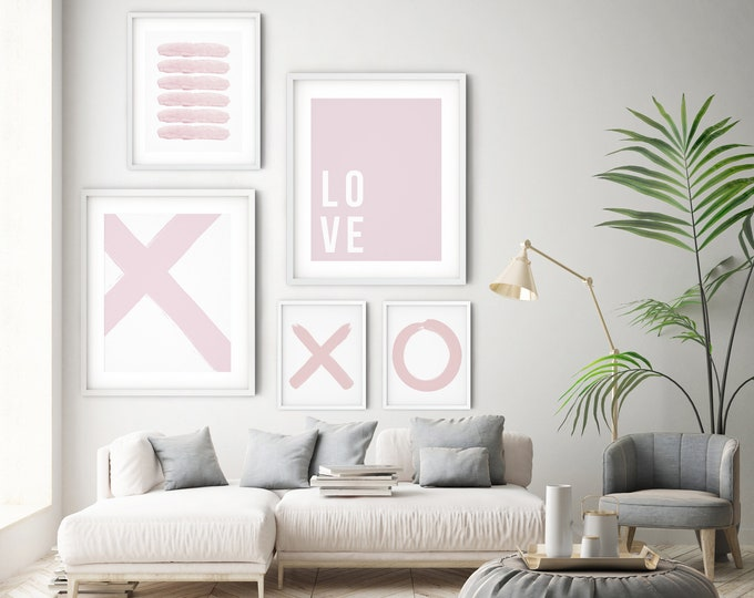 Printable Wall Art Set Pastel Pink, Blush Pink Set of 5 Print Set Wall Art Printable, Set of 5 Wall Art Prints
