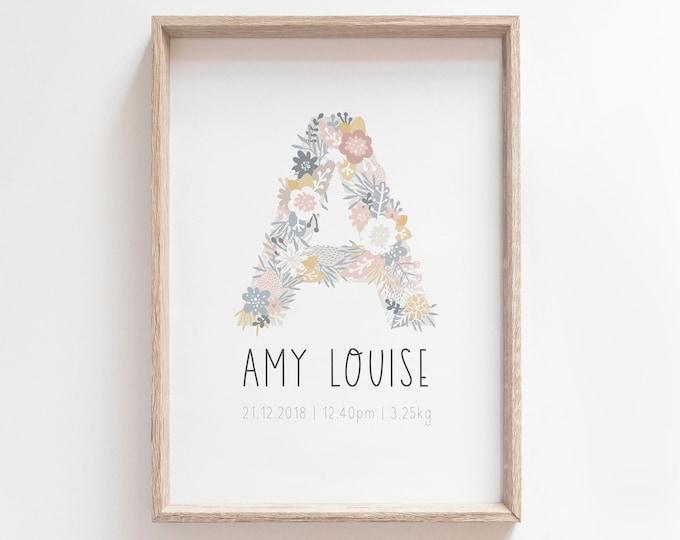 Custom Baby Announcement Print, Birth Announcement Print, Girls Nursery Decor Print, Printable Poster