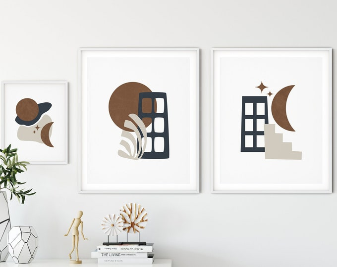 Mid Century Modern Art Print Set, Earth Tone Printable Poster, Abstract Neutral Tones Print Set of 3