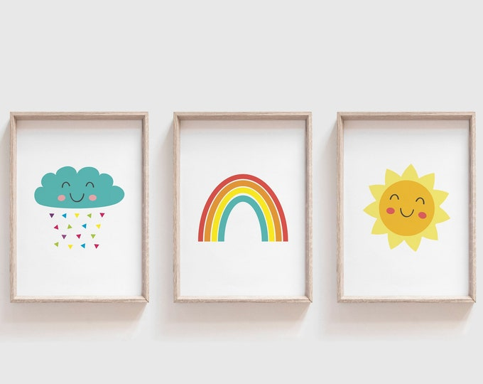 Nursery Wall Art Set of 3, Cloud Rainbow Sun Nursery Print, Neutral Nursery Decor, Printable Wall Art