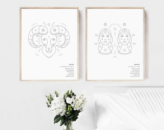 Aries Gemini Zodiac Wall Art Prints Astrology Print Set of 2, Couples Gift Printable Wall Art