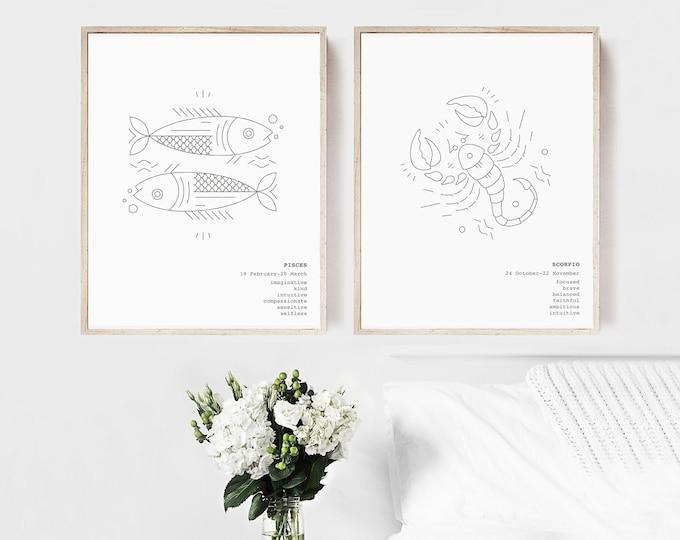 Pisces Scorpio Zodiac Wall Art Prints Astrology Print Set of 2, Couples Gift Printable Wall Art