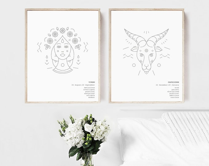 Virgo Capricorn Print Set of 2 Zodiac Wall Art Prints, Best Friend Gift Printable Wall Art