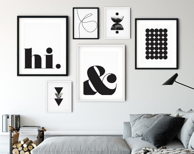 Set of 6 Black and White Wall Art Prints, Printable Wall Art Set, Black and White Print Set Wall Art Printable