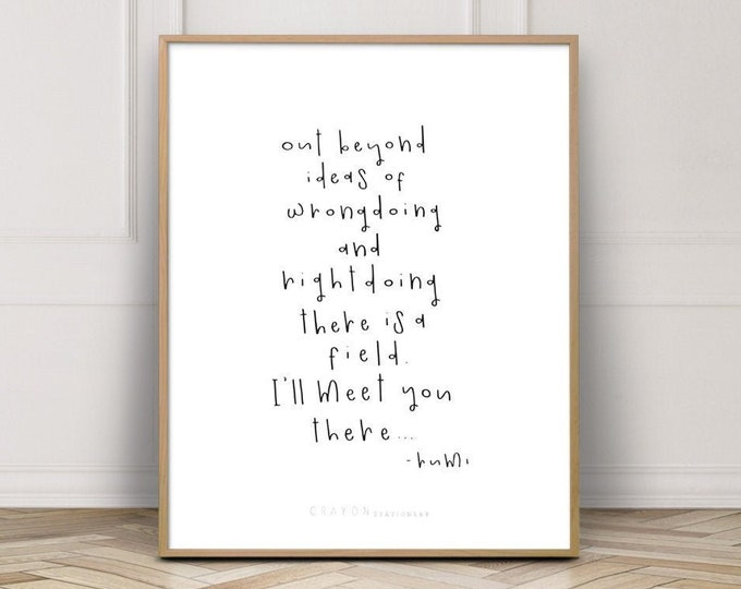 Rumi Wall Decor Quote Prints, Gallery Wall Print, Minimalist Home Decor