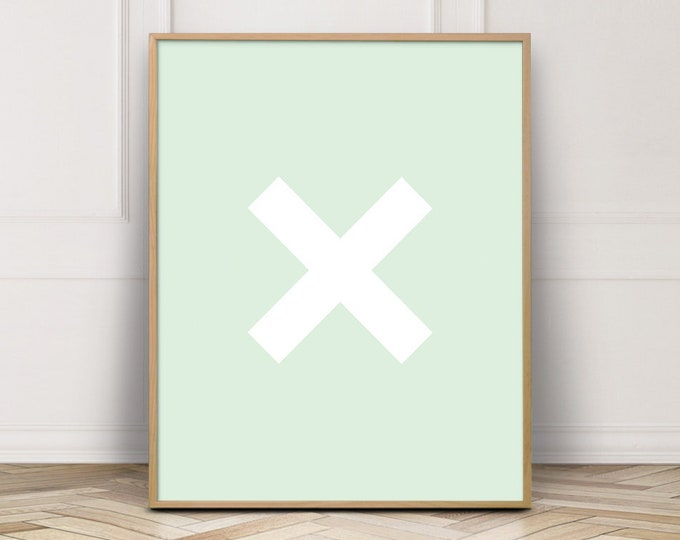 Mint Green Cross Wall Art Print, Cross Printable Wall Art, Bedroom Decor Print, Digital Prints