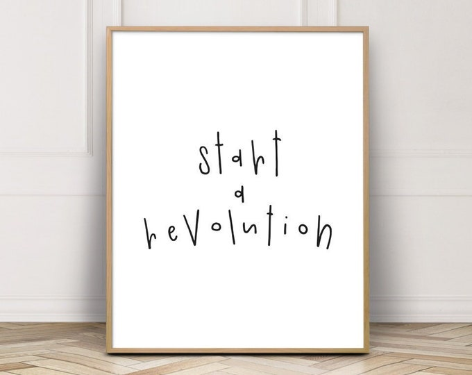 Song Lyrics Wall Art Print, Start A Revolution Beatles Wall Decor Print, Bedroom Decor Print, Printable Wall Art