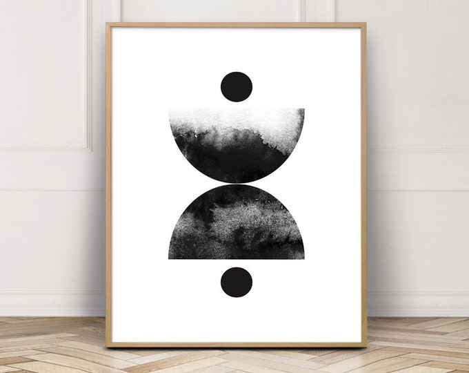 Abstract Art Print, Circle Wall Art Print, Large Bedroom Decor Print, Printable Wall Art