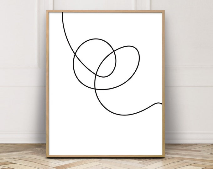 Line Art Print, Bedroom Wall Art, Minimalist Abstract Art Print
