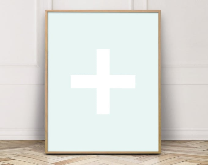 Light Blue Cross Wall Art Print, Cross Printable Wall Art, Bathroom Wall Decor Print, Digital Prints