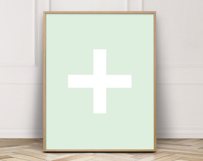 Mint Green Cross Printable Wall Art, Cross Wall Art Print, Bathroom Decor Print, Digital Prints